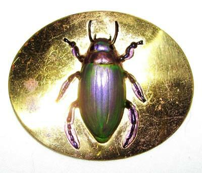 Antique Victorian Edwardian Enamel Egyptian Scarab Beetle Bug Insect Pin Brooch