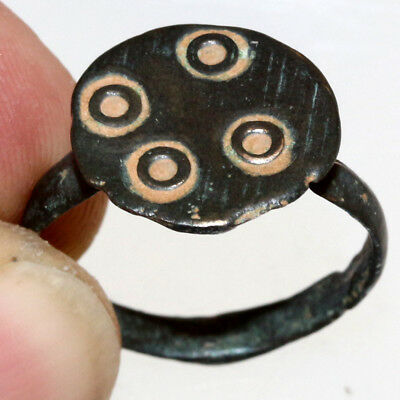 PERFECT-Byzantine Bronze Decorated Ring Circa 700-900 AD