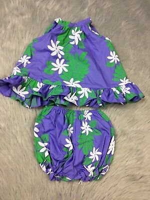 Vintage Hawaiian Baby Girls Purple Green Top Bloomer Set