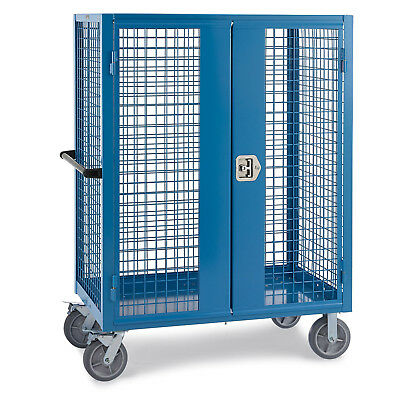 """Wire Security Truck, 48""""W x 24""""D x 60""""H, 8"""" Gray Non-Marking Rubber Casters,"""
