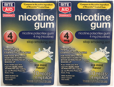 Lot of 2 RiteAid Nicotine Gum 4mg Ice Mint Flavor 20 Pieces, EXP 03/2019