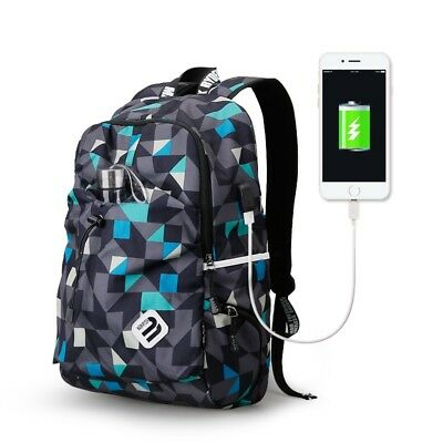 Student College Backpack Water Repellent Nylon Laptop School Bag USB Charge Port