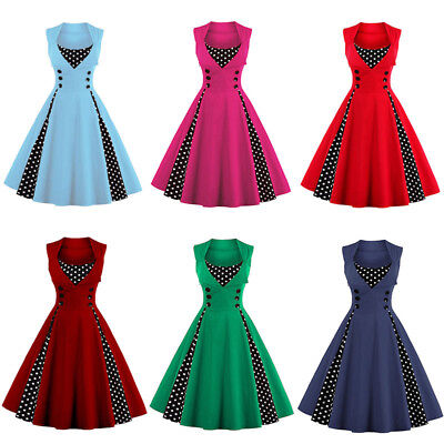 Women Vintage Style Retro 1950s Swing Dress Rockabilly Polka Dot Party Plus Size