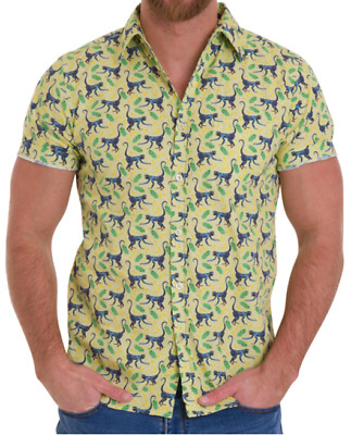 Mens Run & Fly 50S/60S Retro/vintage/hawaiian Busy Monkey Print Shirt