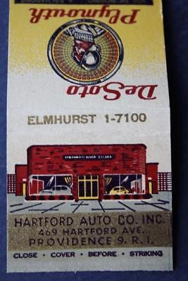 Providence Rhode Island DeSoto-Plymouth Motor Car co. FEATURES Matchbook1 940s