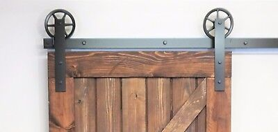 Vintage flat Wheel single  Sliding Barn Wood Door Hardware Track 4 - 12 ft
