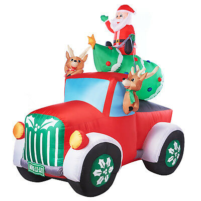 gemmy inflatable santa in retro christmas truck with reindeer and tree decor new