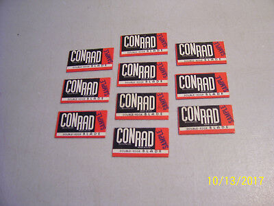 Vintage OId Lot of 10 Rare SAMPLE Conrad Double Edge Razor Blades in Wrappers