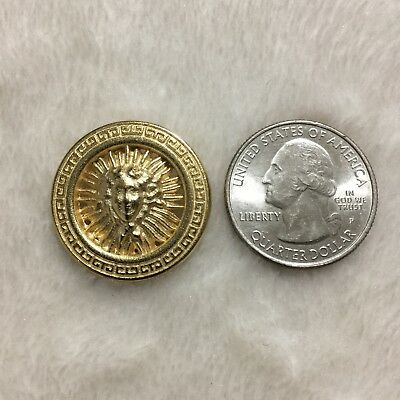 "One (1) Versace Medusa Head Gold Metal Button 1.004"" (25.52 mm)"