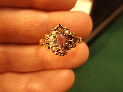 Gorgeous Vtg Antique 10K Rose Gold Victorian Ring (For Repair), Seed Pearl & Gem