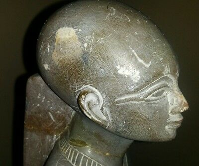 Vintage large Egyptian stone statue boy king Tut ancient aliens elongated head