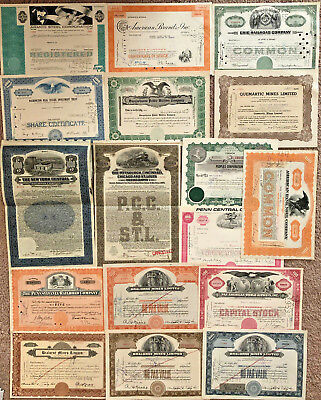 Mixed Lot Set of 40 stock and bond certificates all unique with great vignettes!