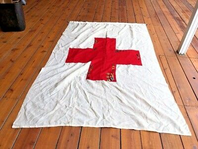 1943 1944 WWII Military Flag RED CROSS Marine Corps Quartermaster 72X48 w medals