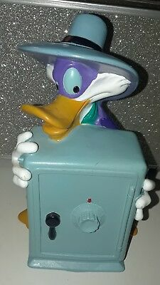"DARKWING DUCK Disney Plastic 6"" Coin Piggy Bank Complete w Trap ; Duck Tales"