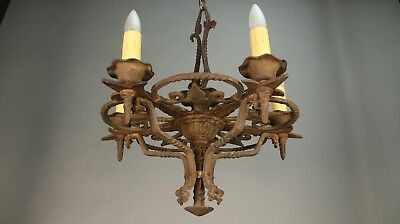 1920s Antique Spanish Revival Gothic Tudor Iron Chandelier  Light (11399)