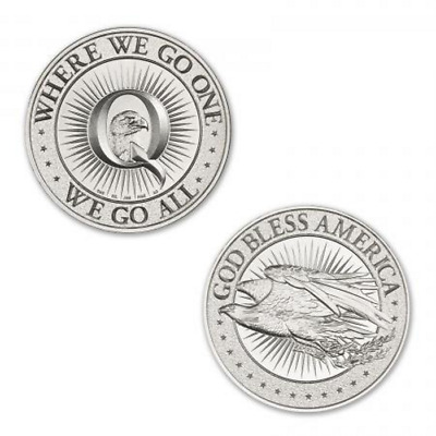 Limited Mintage Qanon - Where We Go One, We Go All 1 oz Silver USA Made BU Round