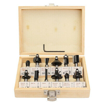 12Pcs 8mm Router Bit Set Shank Tungsten Carbide Rotary Tool With Wood Case