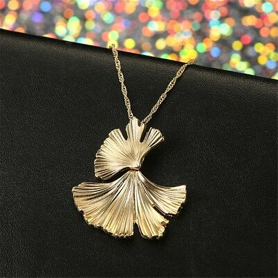 Retro Women Girl Ginkgo Leaf Pendant Necklace Gold Plated Chain Accessory Jewelr