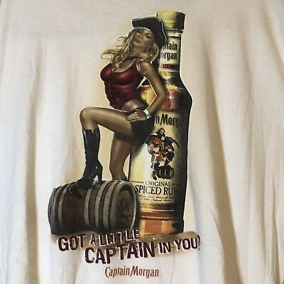 Captain Morgan T Shirt GOT A LITTLE CAPTAIN IN YOU Mens XL Pirate Girl Wench(256