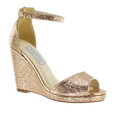 Holly Rose Gold High Heel Women's Prom Formal Bridal Bridesmaid Wedge Shoe