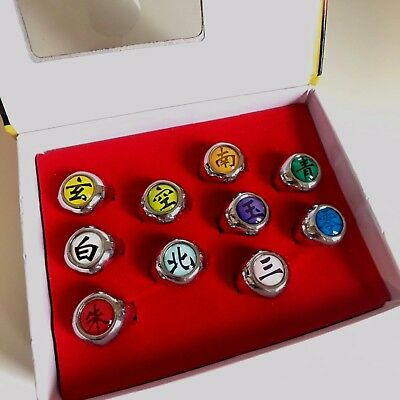 Naruto Akatsuki Rings Anime Cosplay Game Decorate Xmas Birthday Gift 10pcs set
