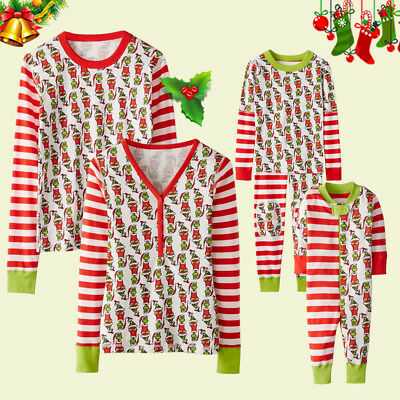 Red Striped Pajama Indoor Wear PJS Sets Christmas Dad Mom Kids Family Matching