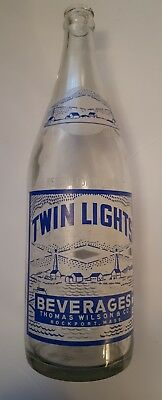 """Rare American(Rockport, Mass) """"twin Lights"""" 32  Oz. Clear Bottle- Blue/white Acl"""