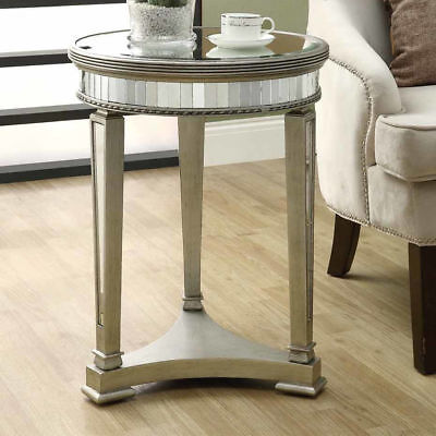 Table Mirrored Accent Round End Console 20 Inch Mirror Side Glam Nightstand