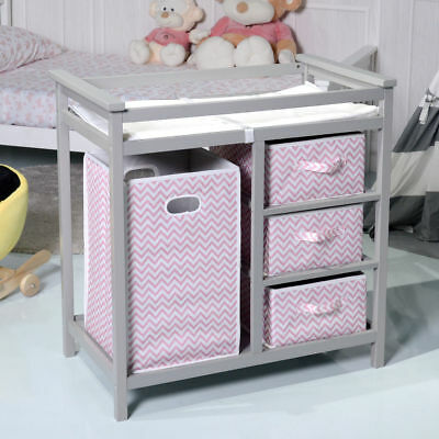 Baby Changing Table, Diaper Storage Nursery Station with Hamper and 3 Baskets