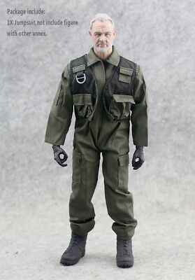 "1/6 Scale Green Soldier F14/F15 Pilot Uniforms Jumpsuit Clothing For 12"" Figure"