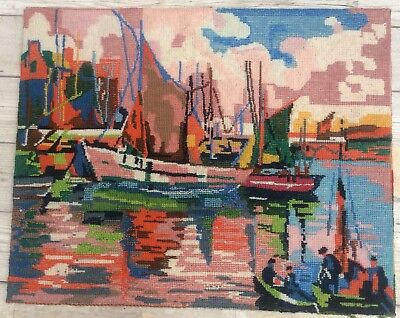 Fab Vtg Completed Needlepoint Tapestry, Fishing Boats Harbour Vibrant Colours