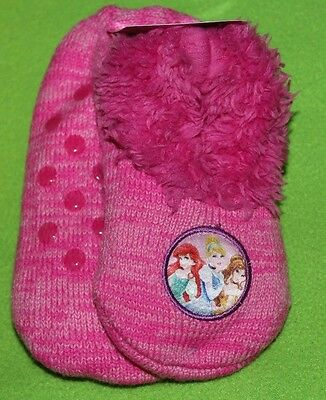 NEW girl DISNEY PRINCESS pink SLIPPER SOCKS sherpa lined SHOE SIZE 9-3