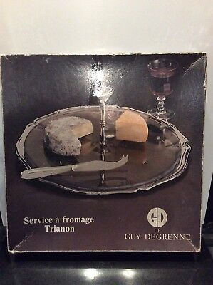 Guy De Degrenne Cheese Board Server Knife Vintage Retro Boxed Quality Glass