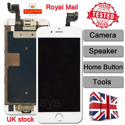 White Screen For iPhone 6s Replacement Digitizer LCD Touch Home Button Camera UK