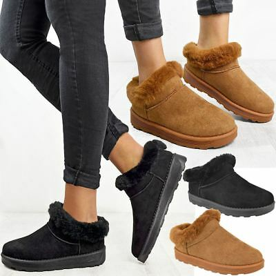 Womens Ladies New Fur Lined Faux Suede Rubber Sole Slippers Mule Slip On Size