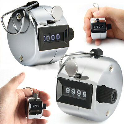 4 Digit Metal Tally Counter Hand Held Clicker Palm Golf People Counting Silver