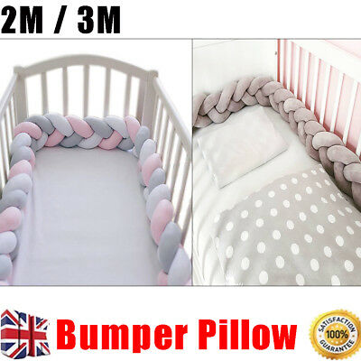 2M 3M Baby Infant Plush Crib Bumper Bed Bedding Cot Braid Pillow Pad Protector