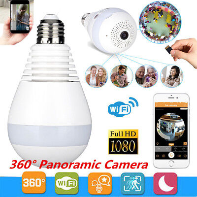 360° Panoramic Wireless WIFI Hidden Bulb 1080P HD Spy Camera Security Home CCTV
