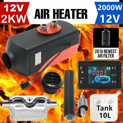 12V 2KW Diesel Air Heater Tank,Vent,Duct,Thermostat,Silencer,Caravan,Filter LCD