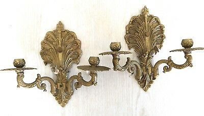 Pair Antique VTG Brass Ornate Wall Sconce Candle Holders Lamp Lights