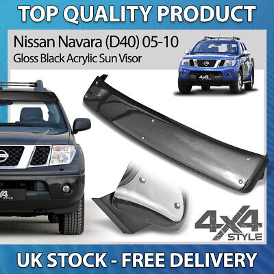 Fit Nissan Navara D40 2005-15 Strong Gloss Black Acrylic Steel Bolt-On Sun Visor