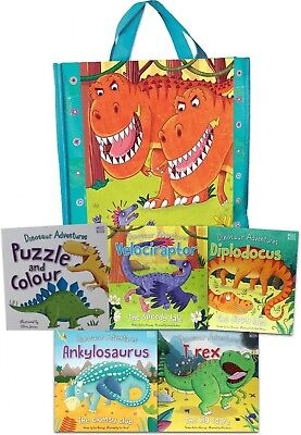 Dinosaur Adventures Collection 5 Books Set in a Bag Children Stories Gift Pack