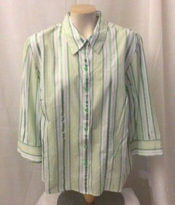 8175788539d Izod Womens Top Green Striped Button Down Front Shirt Blouse Size 1X