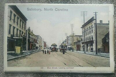 1917 Main Street Looking Northeast Salisbury NC Postcard With Pull Out Photos