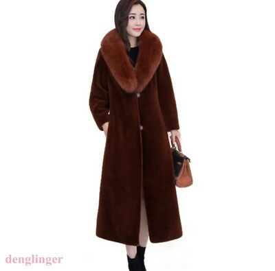 Womens Full Length Cashmere Blend Faux Fur Collar Trench Coat Detachable new hot