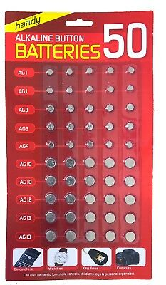 50Pc Set AG 1,3,4,10,12 and 13 Alkaline Button Cell Battery Pack