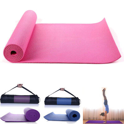 Yoga Mat 6mm Thick PVC Gym Pilates Workout Fitness Exercise Pad w/ Carry Bag NEW
