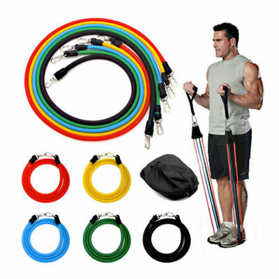 11pc Exercise Resistance Bands Training Bands Yoga Fitness Pilates Workout Set