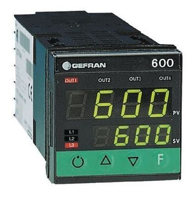 Gefran 600 PID Temperature Controller, 48 x 48 (1/16 DIN)mm, 2 Output Logic, Rel
