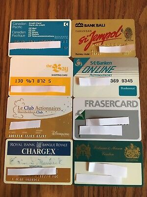8 Vintage Expired Credit Cards For Collectors - International Theme Lot